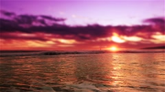 Pink Sunset Beach with sail boat and seagulls No. 1 Stock Footage