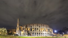 View of the Colosseum. Night. Rome, Italy. Time Lapse. 1280x720 - stock footage