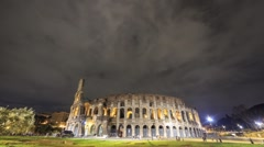 Night Colosseum. Rome, Italy. Time Lapse. 1280x720 Stock Footage