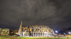 Night Colosseum. Rome, Italy. Time Lapse Stock Footage