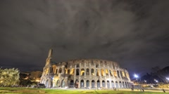 Night Colosseum. Zoom. Rome, Italy. Time Lapse - stock footage