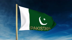 Pakistan flag slider style with title. Waving in the wind with cloud background Stock Footage