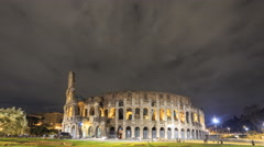 View of the Colosseum. Night. Rome, Italy. Time Lapse. 4K - stock footage
