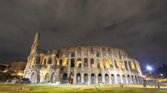 Colosseum at night. Zoom. Rome, Italy. Time Lapse. 4K - stock footage
