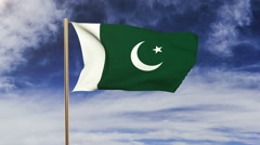 Pakistan flag waving in the wind. Green screen, alpha matte. Loopable animation Stock Footage