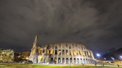 Night Colosseum. Zoom. Rome, Italy. Time Lapse. 4K Stock Footage