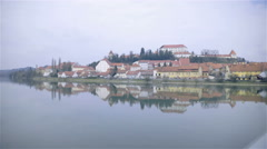 Old Ptuj town beside river and it's reflection 4K Stock Footage