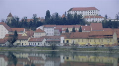 Ptuj city and castle with river static shot 4K Stock Footage