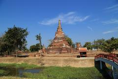 Principal Stupa (Pagoda) at Wat Khudeedao, the ruin of a Buddhist temple in t - stock photo