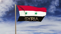 Syria flag with title waving in the wind. Looping sun rises style.  Animation Stock Footage