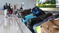 Baggage conveyor belt in the Suvarnabhumi Airport . Bangkok, Thailand Stock Footage