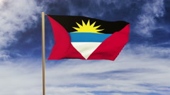 Antigua And Barbuda flag waving in the wind. Green screen, alpha matte. Loopable Stock Footage