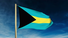 Bahamas flag slider style. Waving in the win with cloud background animation Stock Footage