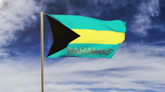 Bahamas flag with title waving in the wind. Looping sun rises style.  Animation Stock Footage