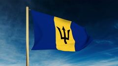 Barbados flag slider style. Waving in the win with cloud background animation Stock Footage