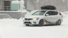 Cars Drive On The Snow Road - stock footage