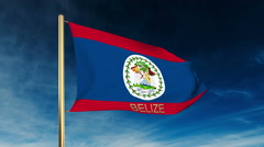 Belize flag slider style with title. Waving in the wind with cloud background Stock Footage