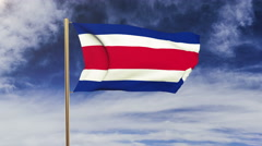 Costa Rica flag waving in the wind. Green screen, alpha matte. Loopable Stock Footage