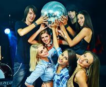 Woman on disco in night club Kuvituskuvat