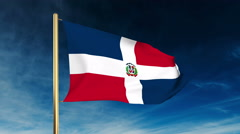Dominican Republic flag slider style. Waving in the win with cloud background Stock Footage