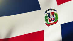 Dominican Republic flag waving in the wind. Looping sun rises style.  Animation Stock Footage
