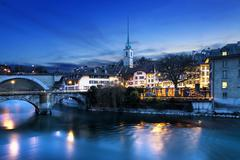 Bern city by night Stock Photos