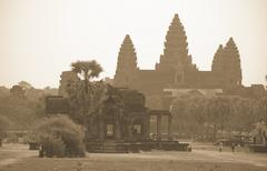 Stock Photo of Angkor Wat in Sepia