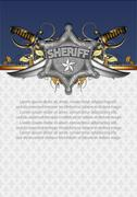 ornate frame with sheriff star - stock illustration