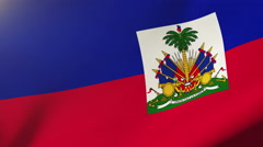 Haiti flag waving in the wind. Looping sun rises style.  Animation loop Stock Footage