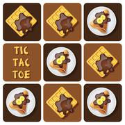 Tic-Tac-Toe of crepe and waffle Stock Illustration