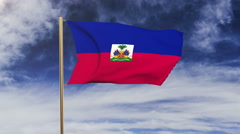 Haiti flag waving in the wind. Green screen, alpha matte. Loopable animation Stock Footage