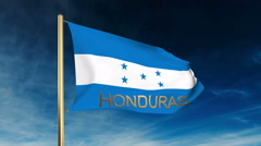 Honduras flag slider style with title. Waving in the wind with cloud background Stock Footage