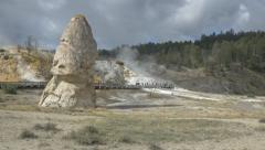 Rock formation near the Mammoth Hot Springs, Yellowstone National Park Stock Footage