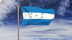Honduras flag waving in the wind. Green screen, alpha matte. Loopable animation Stock Footage
