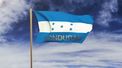 Honduras flag with title waving in the wind. Looping sun rises style.  Animation Stock Footage