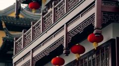 Chinese Pagoda in Shanghai medium shot Stock Footage