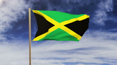 Jamaica flag waving in the wind. Green screen, alpha matte. Loopable animation Stock Footage