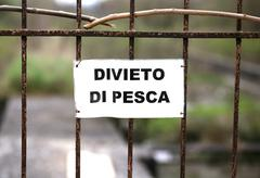 Prohibition of fishing in an area in Italy Stock Photos