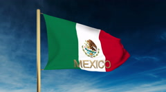 Mexico flag slider style with title. Waving in the wind with cloud background Stock Footage