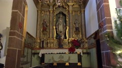 4k Parish Nossa Senhora do Monte Madeira altar sculptures Stock Footage