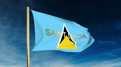 Saint Lucia flag slider style with title. Waving in the wind with cloud Stock Footage