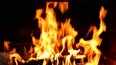 Closeup of real fireplace full of wood and fire. detailed fire background Stock Footage