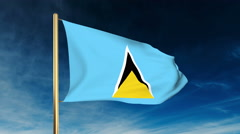 Saint Lucia flag slider style. Waving in the win with cloud background animation Stock Footage