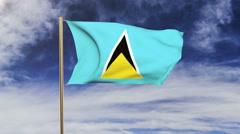 Saint Lucia flag waving in the wind. Green screen, alpha matte. Loopable Stock Footage