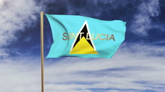 Saint Lucia flag with title waving in the wind. Looping sun rises style Stock Footage