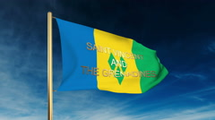 Saint Vincent and the Grenadines flag slider style with title. Waving in the Stock Footage