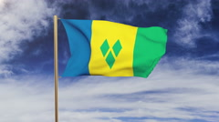 Saint Vincent and the Grenadines flag waving in the wind. Green screen, alpha Stock Footage