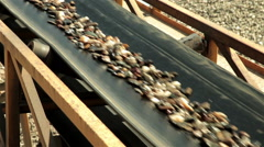 Sand and stones going on conveyor belt. Sand separation. Construction industry. Stock Footage