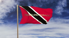 Trinidad and Tobago flag with title waving in the wind. Looping sun rises style Stock Footage