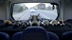Dog plush toys on back shelf of car 4K Stock Footage